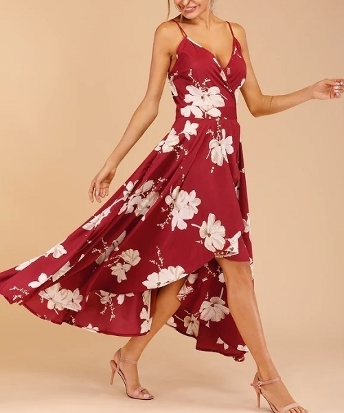 Picture of Floral Print Tulip Hem Surplice Cami  Maxi Summer Dress