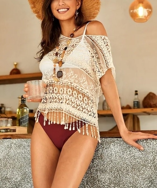 Picture of Fringe Trim Mesh Insert Guipure Lace Beach Cover Up