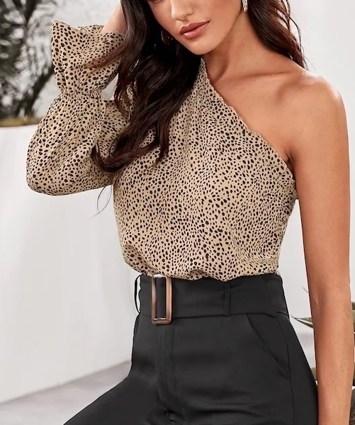 Picture of Printed One Shoulder Ruffle Trim Top