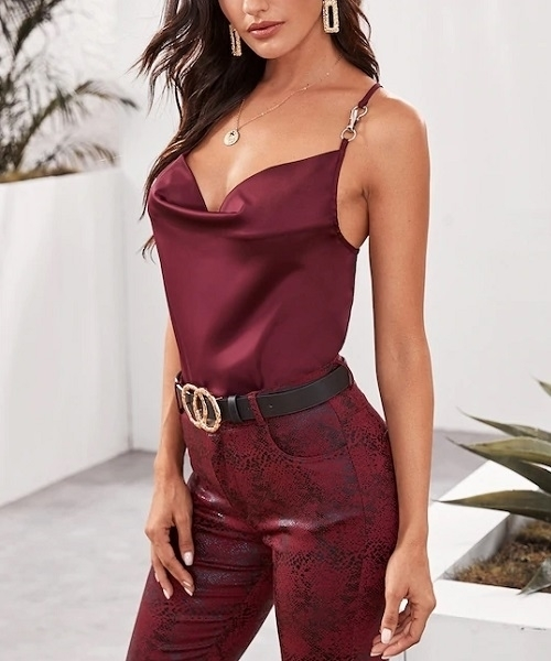 Picture of Criss-cross Draped Satin Cami  Women Top
