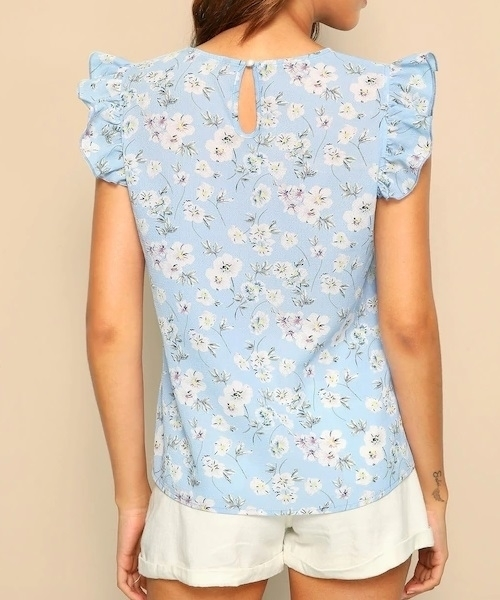 Picture of Ditsy Floral Ruffle Trim Top