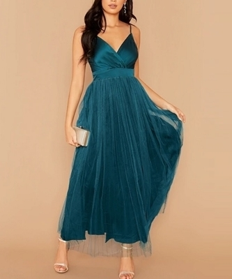 Picture of Surplice Neck Split Thigh Mesh Overlay Satin Formal Dress
