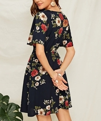 Picture of Flower Surplice Neck Flutter Sleeve Dress