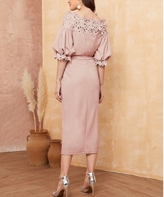 Picture of Guipure Lace Yoke Puff Sleeve Belted Pencil Dress
