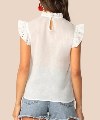 Picture of Mock-Neck Ruffle Trim Embroidery Eyelet Top