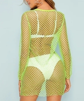 Picture of Neon Lime Fishnet Mesh Beach Dress