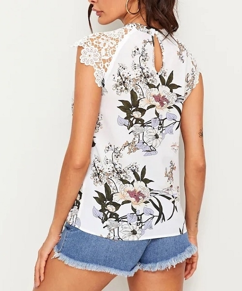 Picture of Floral Print Guipure Lace Raglan Sleeve Top