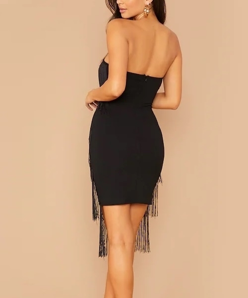 Picture of Layered Fringe Trim Tube Bodycon Cocktail Dress