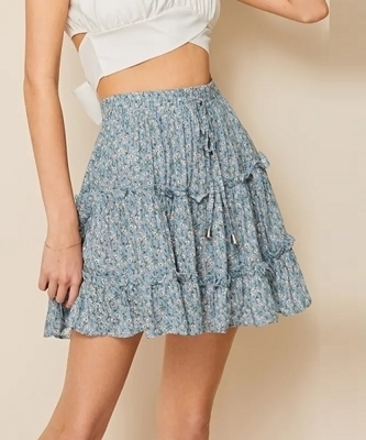 Picture of Ditsy Floral Drawstring Waist Frill Trim Skirt