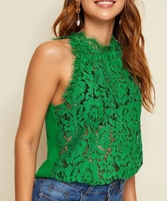 Picture of Mock Neck Guipure Lace Front Sleeveless Top