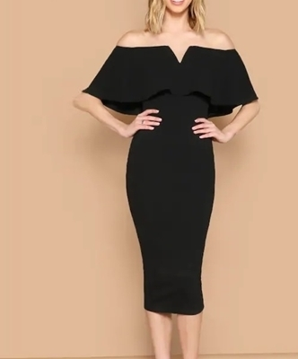 Picture of Off Shoulder Solid Bodycon Cocktail Dress