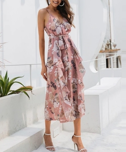 Picture of Floral Surplice Neck Ruffle Wide Leg Jumpsuit
