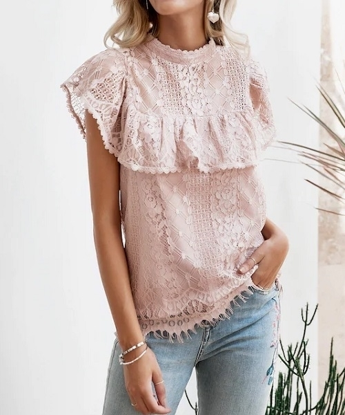 Picture of Lace Trim Mock-neck Ruffle Top