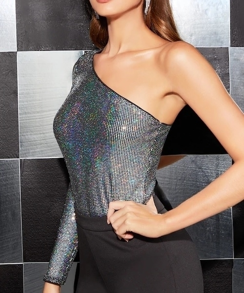 Picture of One Shoulder Holographic Sequin Top