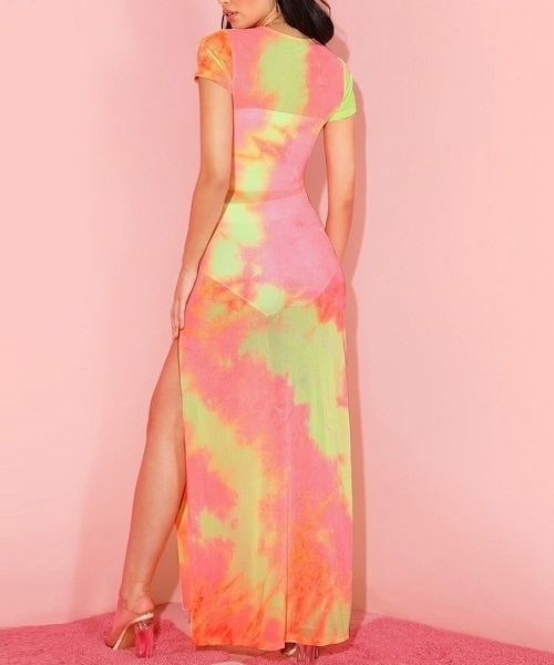 Picture of High Split Tie Dye Sheer Beach Dress