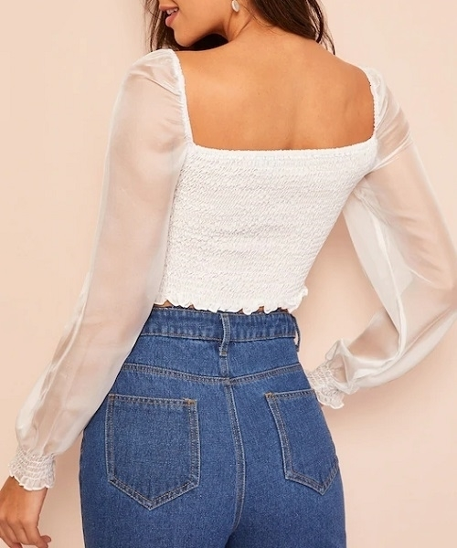 Picture of Off Shoulder Organza Sleeve Shirred Frill Crop Top