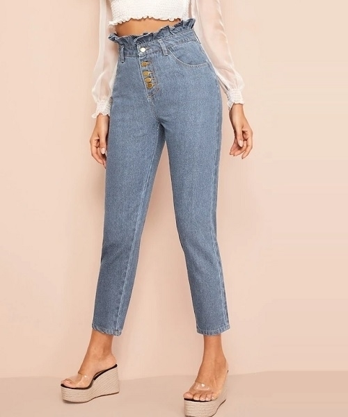 Picture of Light Wash Button Fly Paperbag Waist Mom Jeans