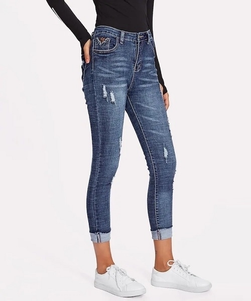 Picture of Ripped Cuffed Ankle Skinny Jean