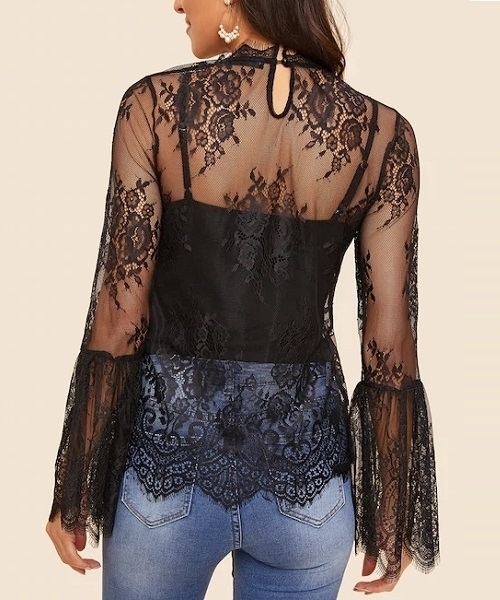 Picture of Flounce Sleeve Eyelash Lace Mesh Top