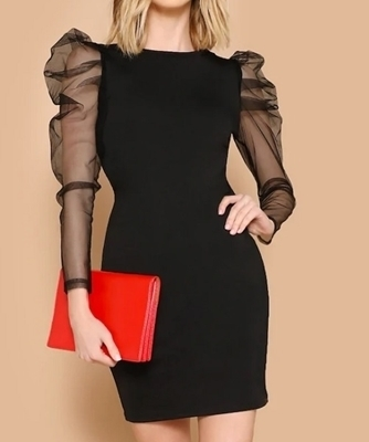 Picture of Mesh Puff  Sleeve Bodycon Cocktail Dress