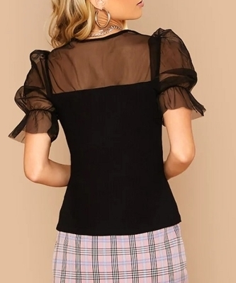 Picture of Puff Mesh V-neck  Yoke Trim Fitted Top