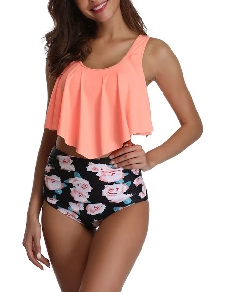 Picture of Bright Ruffle Top With Ruched Floral High Waist Bikini Set
