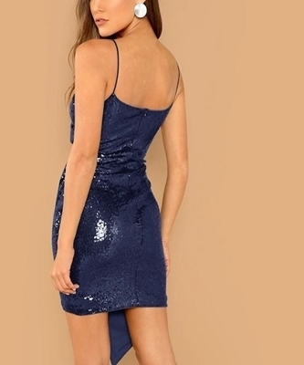 Picture of Surplice Wrap Sequin Cami Cocktail Dress