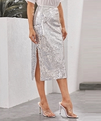 Picture of Split Side Sequin Skirt