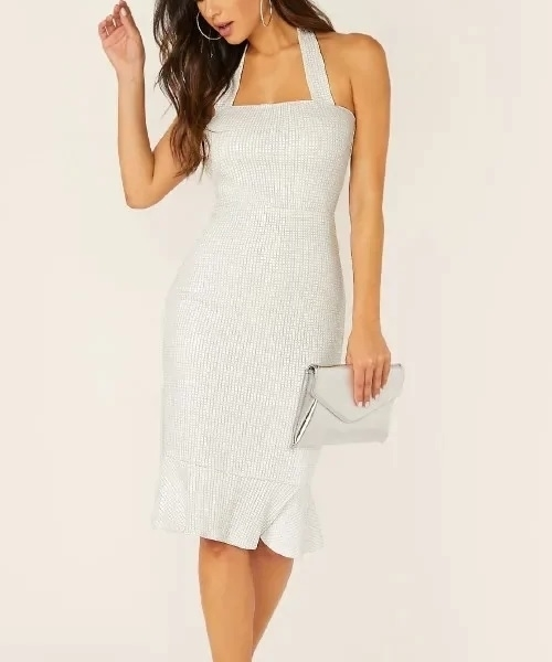 Picture of Solid Fishtail Hem Textured Halter Cocktail Dress