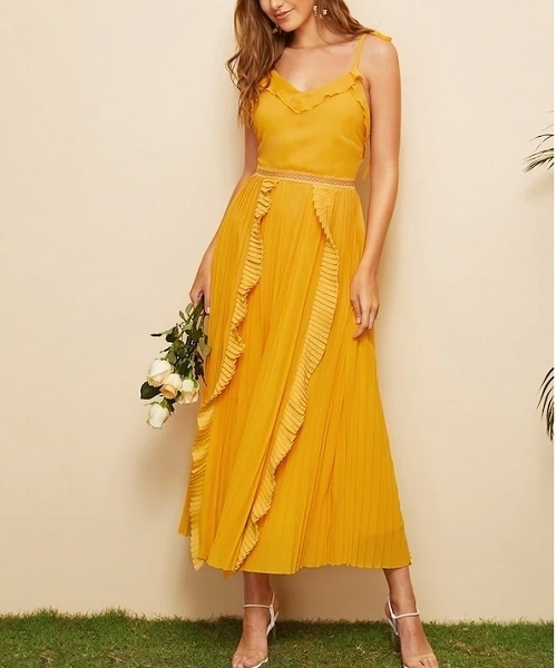 Picture of Ruffle Trim Pleated Backless Cami Long Dress