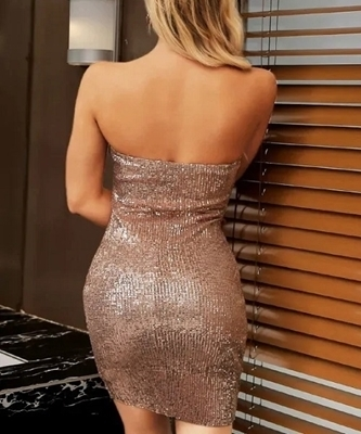 Picture of Sequin Form Fitting Strapless Dress