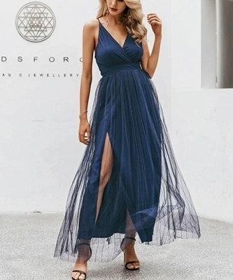 Picture of Crisscross Back Split Mesh Overlay Long Formal Dress