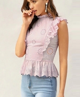 Picture of Cotton Ruffle Trim Eyelet Embroidered Peplum Top