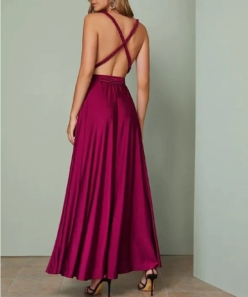 Picture of Plunging Crisscross Tie Back Formal Dress