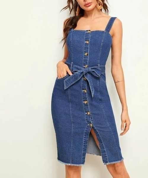 Picture of Button Front Raw Hem Belted Skinny Denim Dress