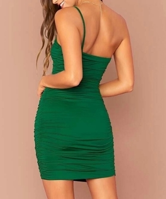Picture of One Shoulder Ruched Bodycon Cocktail Dress