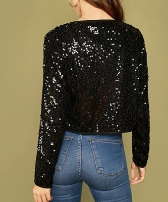Picture of Sequin Binding Detail Curved Hem Evening Jacket