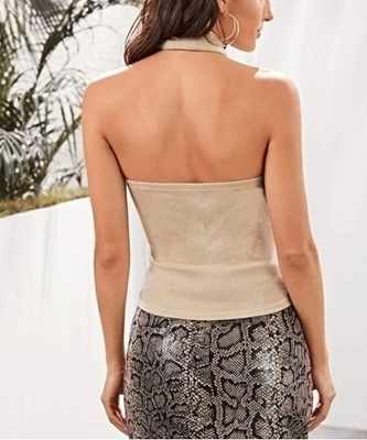 Picture of Criss-cross Wrap Halter Knit Top