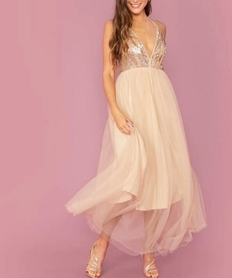 Picture of Criss-cross Backless Sequin Mesh Overlay Formal Maxi Dress