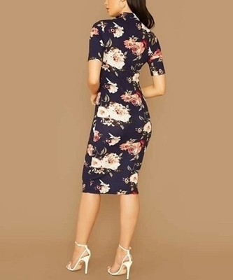 Picture of Elegant Mock Neck Floral Print Pencil Dress