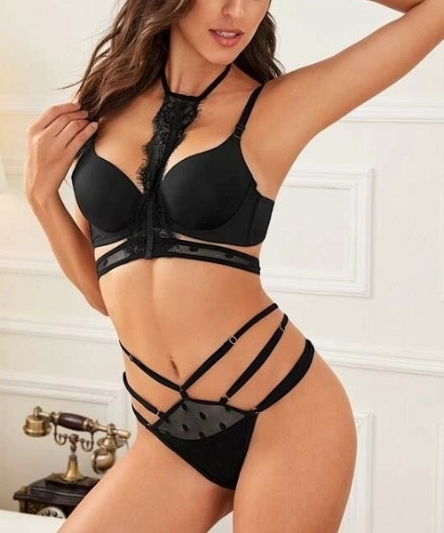 Picture of Eyelash Lace Lingerie Choker With Mesh Thong & Robe