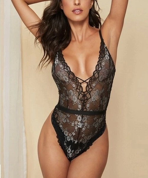 Picture of Floral Lace Scalloped Trim Bodysuit