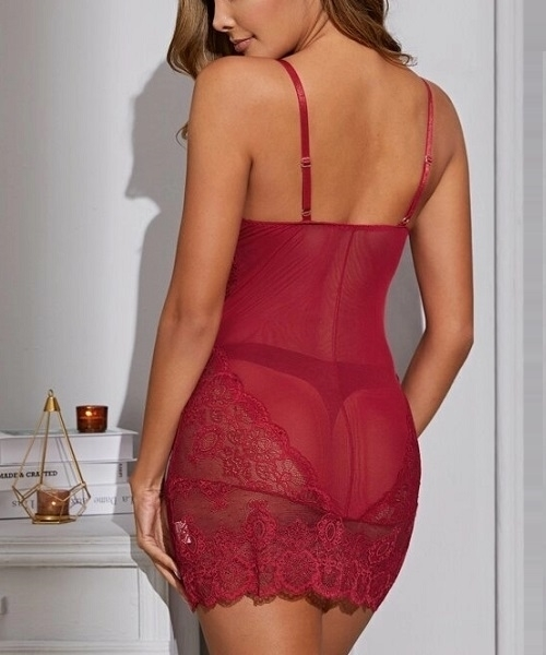Picture of Floral Lace Sheer Babydoll Lingerie