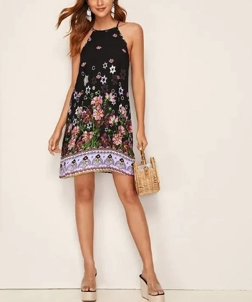 Picture of Floral Print Halter Beach Dress