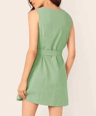 Picture of Cotton Button Front Belted Sleeveless Casual Dress