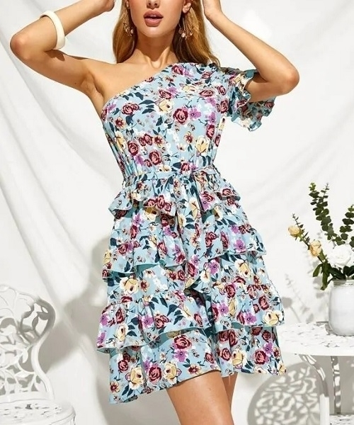 Picture of One Shoulder Layer Ruffle Hem Belted Floral Dress
