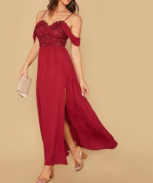Picture of Cold Shoulder Guipure Lace Bodice High Split Formal Dress