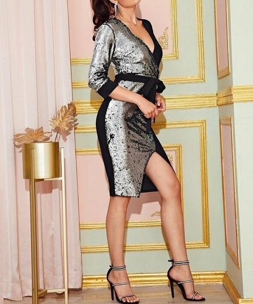 Picture of Sequin Two Tone Self Belted Bodycon Dress