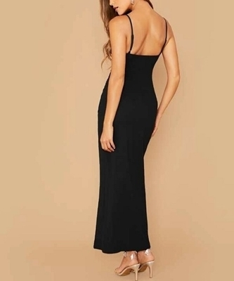 Picture of Asymmetrical Wrap Ruched Side Split Thigh Slip Long Formal Dress