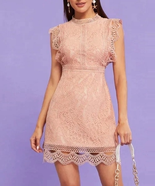 Picture of Lace Guipure Stand Collar Dress